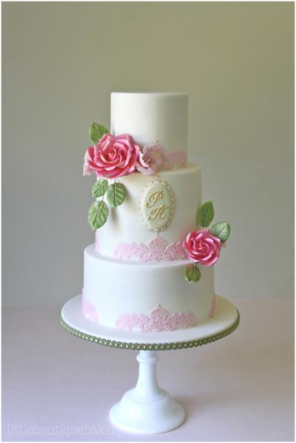 Rose Lace Wedding Cake