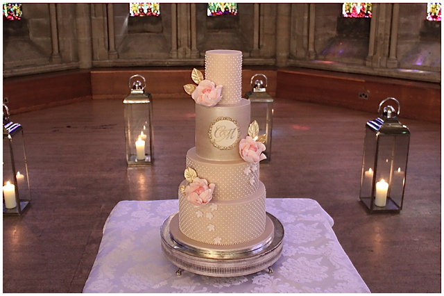 Champagne Pearls Wedding Cake